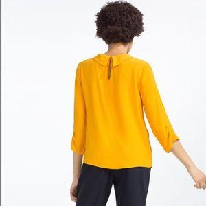 Zara Tops - Bold Tumeric Retro Demure Rolled Neckline 3/4 Top